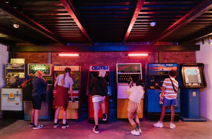 kids playing in an arcade