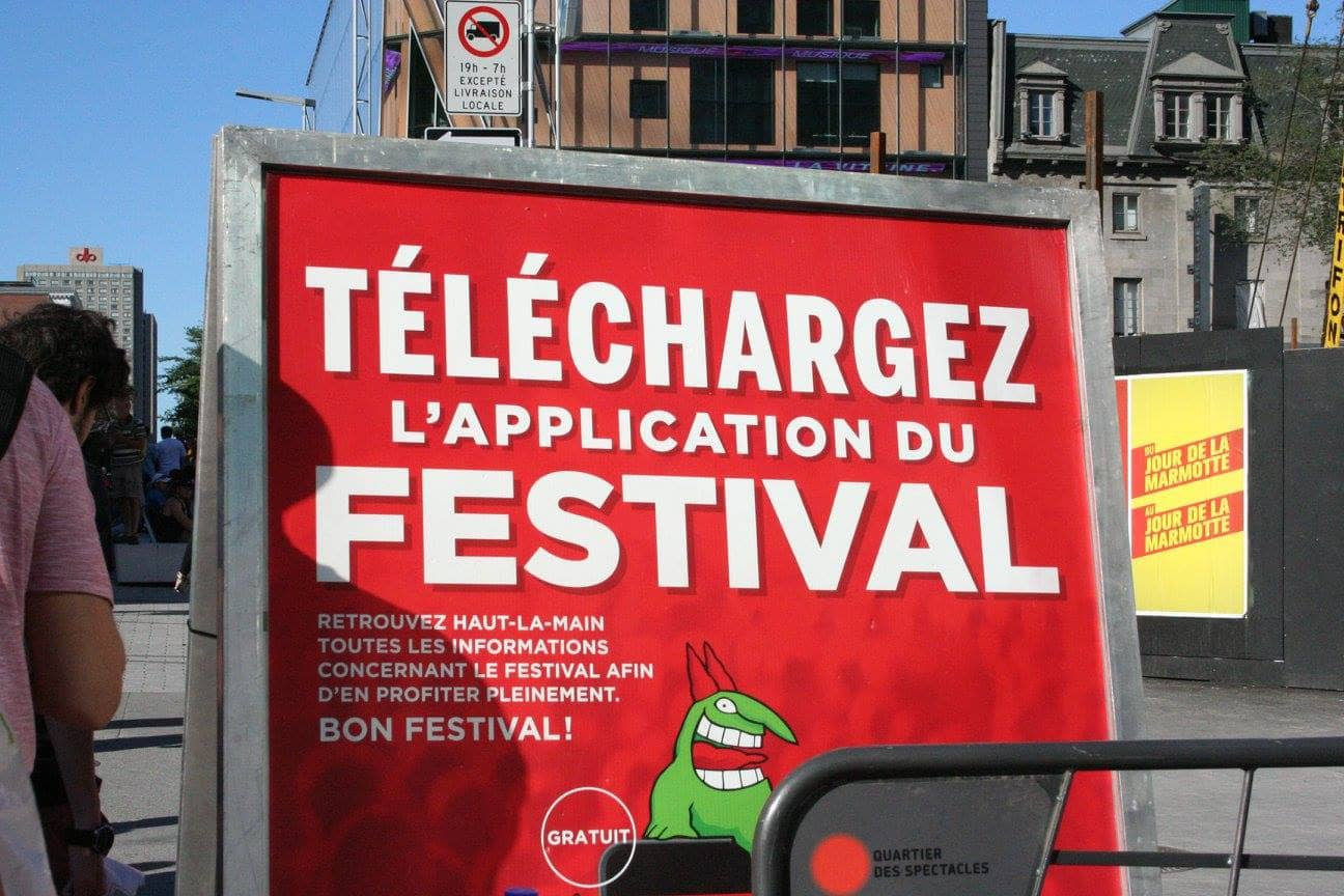 Just For Laughs comedy festival sign