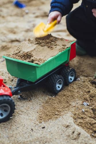 sand box and toy truck