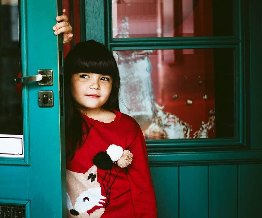 girl in doorway