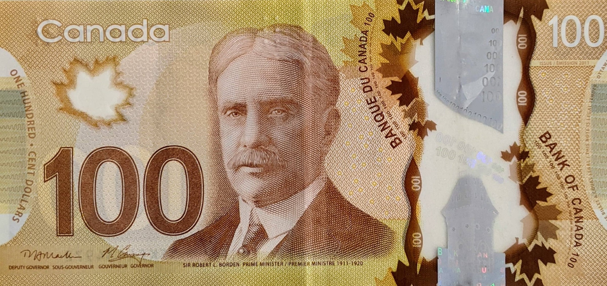 Canadian one hundred bill