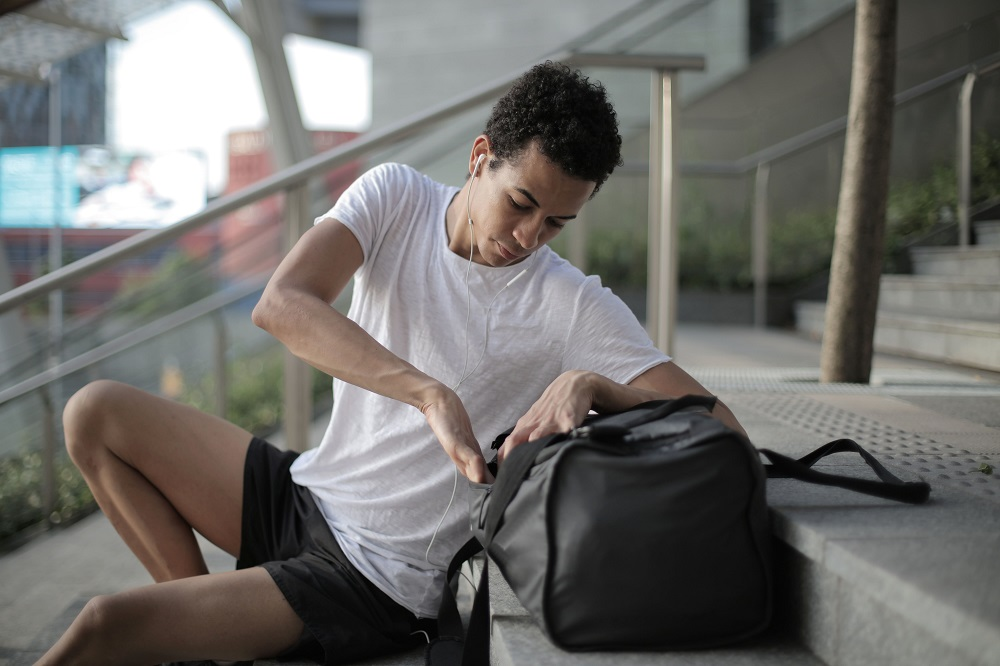 guy with gym bag