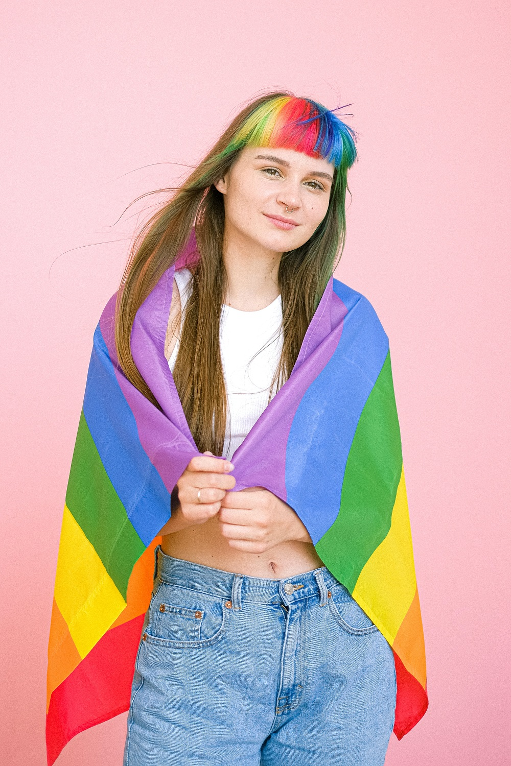 Woman with pride flag